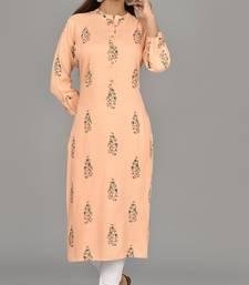 Orange jaipuri embroidered straight casual wear kurti cotton