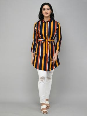 Multicolor printed polyester tunics