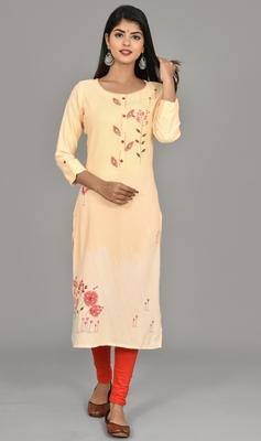 Katch karigari Orange Embroidered Straight kurta cotton