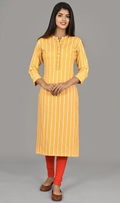 Women Yellow Striped Embroidered rayon Straight Kurta