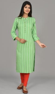 Green striped saganeri embroidery rayon ladies kurti