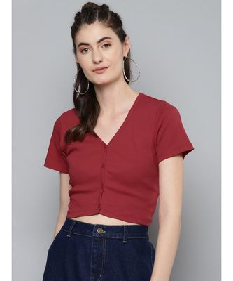 Red Front Button Crop Top