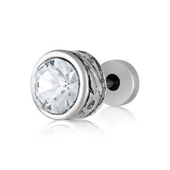 Rhodium toned Single Diamond Stud Earring For Men