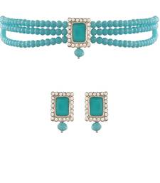 18K Rhodium Plated Crystal Stone Beaded Choker Necklace Jewellery Set With Earrings