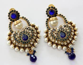 ANTIQUE GOLD PLATED BLUE N WHITE PEARLS HANGINGS