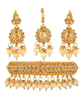 Traditional Padmaavat Gold toned Choker Necklace Set with Maang Tikka For Women