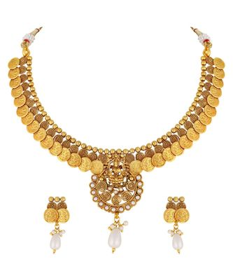 Traditional Laxmi Coin Gold toned Choker Necklace Set For Women