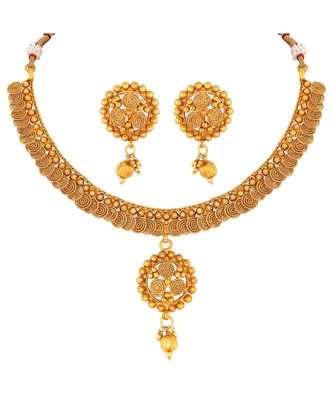 Traditional Gold toned Choker Copper Necklace Set For Women