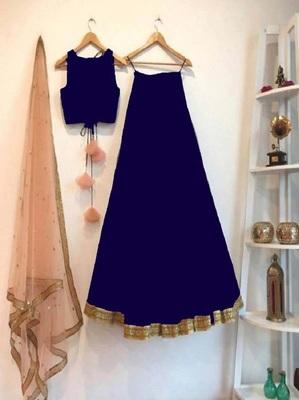 Navy-blue plain art silk semi stitched lehenga