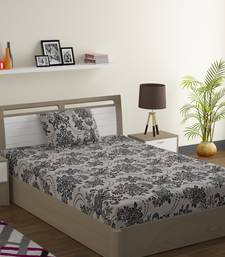 Cotton Blend 120 TC Floral Single Bed Sheet with 1 Pillow Cover  Beige Black