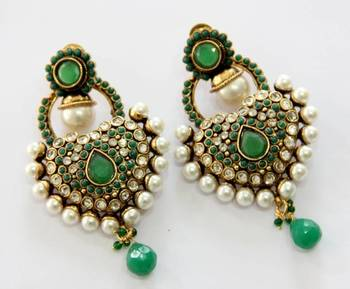 ANTIQUE GOLD PLATED GREEN N WHITE PEARLS HANGINGS
