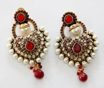 ANTIQUE GOLD PLATED RED N WHITE PEARLS HANGINGS