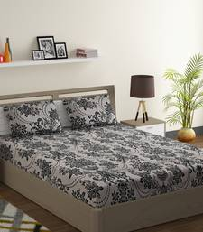 Cotton Blend 120 TC Floral Extra Large Bed Sheet with 2 Pillow Covers  Beige Black