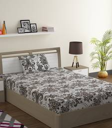 Cotton Blend 120 TC Floral Single Bed Sheet with 1 Pillow Cover  Brown Off White