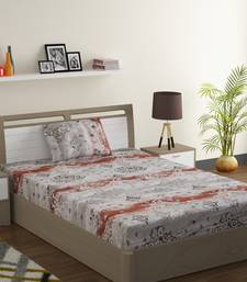 100% Cotton 144 TC Printed Single Bed Sheet with 1 Pillow Cover  Grey Red