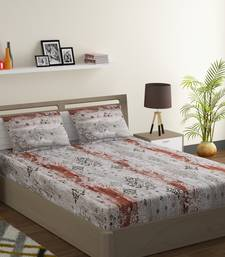 100% Cotton 144 TC Printed Double Bed Sheet with 2 Pillow Covers  Grey Red