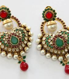 ANTIQUE GOLD PLATED GREEN RED N WHITE PEARLS HANGINGS shop online