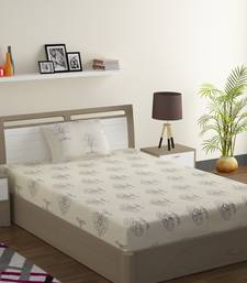 Premium 100% Cotton 200 TC Floral Single Bed Sheet with 1 Pillow Cover  Off White Grey