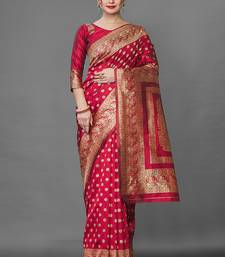 Red Color Goergeous  Banarasi Saree with Blouse Piece for Women