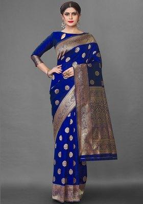 Dark Green Color Goergeous  Banarasi Saree with Blouse Piece for Women.