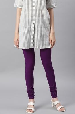 Purple plain viscose leggings