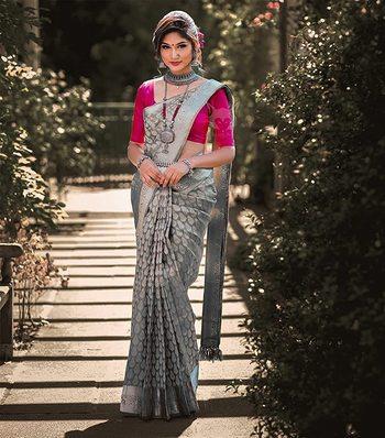 Grey Color Goergeous  Banarasi Saree with Blouse Piece for Women.
