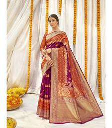 Multicolor Jacquard and Stone Work Jacquard Silk Saree with blouse