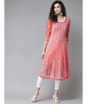 Ada Women's Hand Embroidered Brick Red Georgette Lucknow Chikankari Anarkali Kurti
