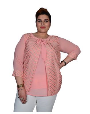 Pink printed georgette cotton-tops
