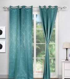Swayam Turquoise Colour Motif J&B Blackout Eyelet Curtain