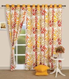 Swayam Yellow Colour Leaf Printed Eyelet Curtain