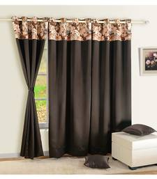 Swayam Chocolate Brown Colour Solid PNP Blackout Eyelet Curtain