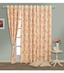 Swayam Cream Colour Floral Printed Eyelet Curtain