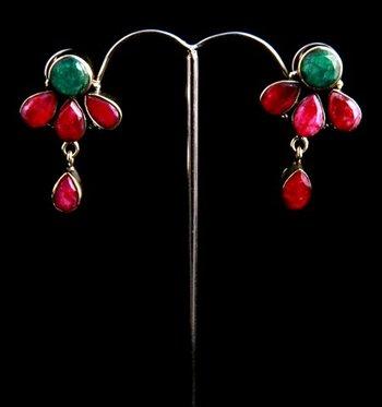 Ruby Emerald Earrings