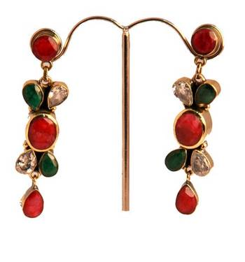 Ruby, Emerald & Clear quartz Earrings