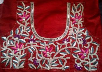 Red pearl and embroidery work heavy blouse