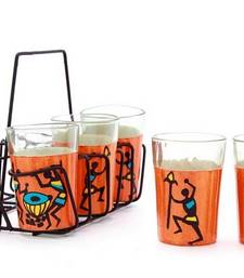 Buy Hand painted MuHeNeRa set of 6 glass with stand tg zinghlala tea-kettle online