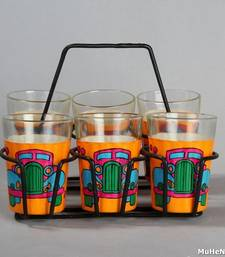Buy Hand painted MuHeNeRa set of 6 glass with stand tg Vintage car tea-kettle online