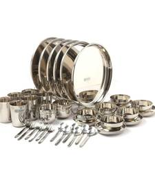 Coconut Stainless Steel (Heavy Guage) Mirror Finish Family Happy Dinner Set 42 Piece Dinner set