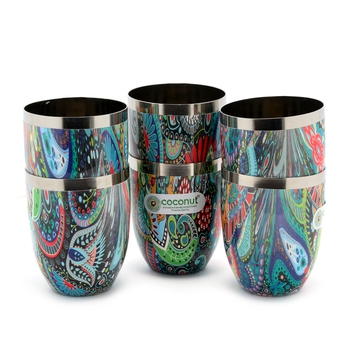 Coconut Stainless Steel Printed Designer Multi Colour Water Glass Pack of 6 Glasses