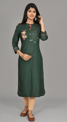 Dark Green Women Embroidered  Straight Kurta