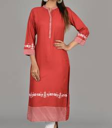 Women Embroidered Red color straight kurta