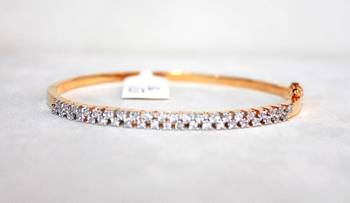 Square Shape CZ Stones Studded in Silver Gold Plated Charismatic Bracelet