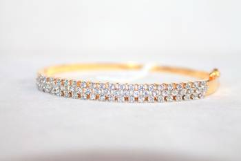 Round Shape CZ Stones Studded in Silver with Gold Plating Magnifying Bracelet