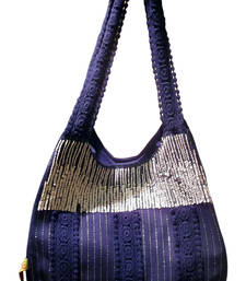 Luscious Blue Colour Sequined Jhola Bag
