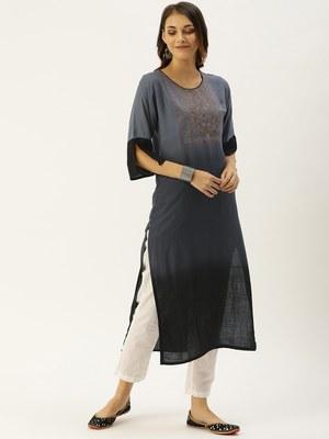 Grey embroidered viscose rayon kurtas-and-kurtis