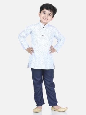 Blue printed cotton boys-kurta-pyjama