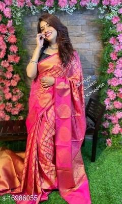 Pink ColorBeautiful Soft Lichi Silk Party Wear Saree for Women Saree