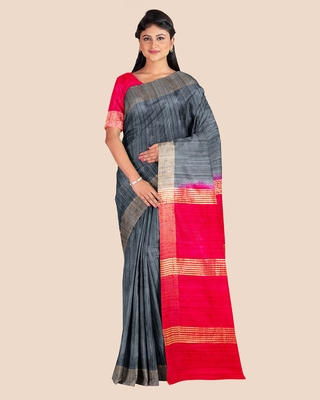 Slate Grey Reddish Pink Pure Tussar Ghicha Silk Handwoven Saree with Contrast Pallu and Blouse Piece