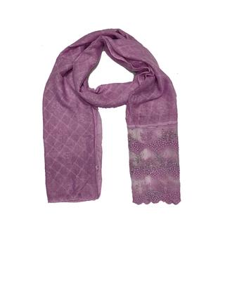 Cotton Checkered Diamond Studed Hijab  Purple